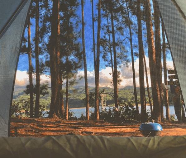 Vista desde la carpa hacia la laguna